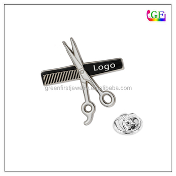 Barber Lapel Pins Razor Shear Comb