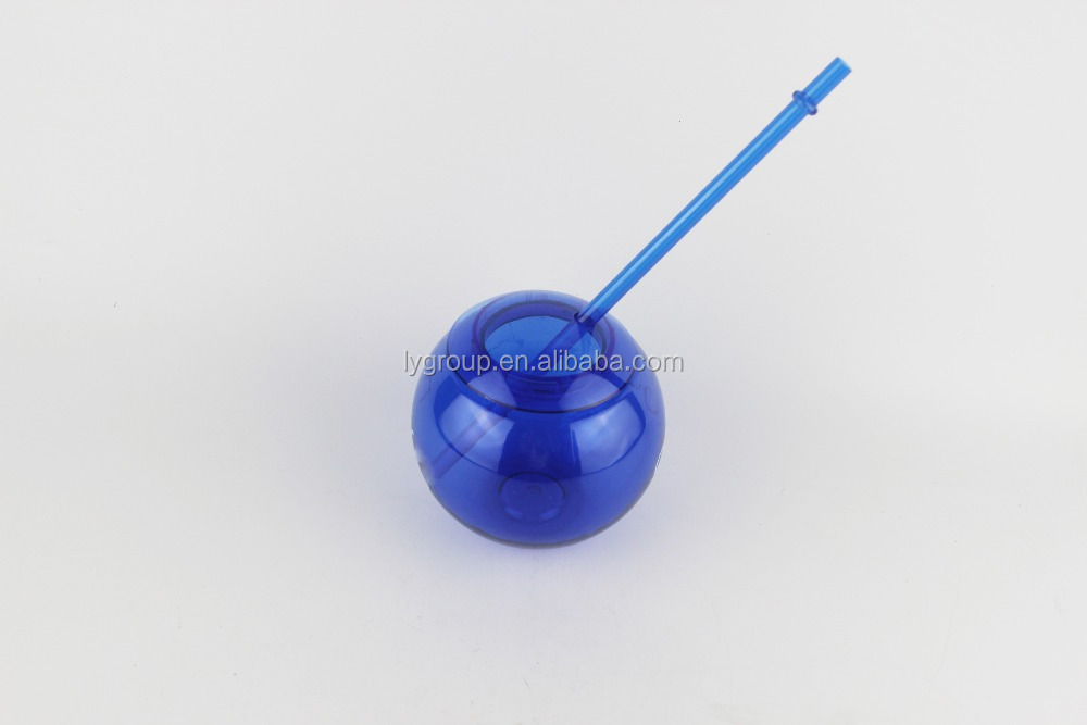 Amazon hot seliing 450ml AS Plastic Fiesta 20oz Ball style tumbler with Straw ,single wall Ball shaped acrylic Tumbler