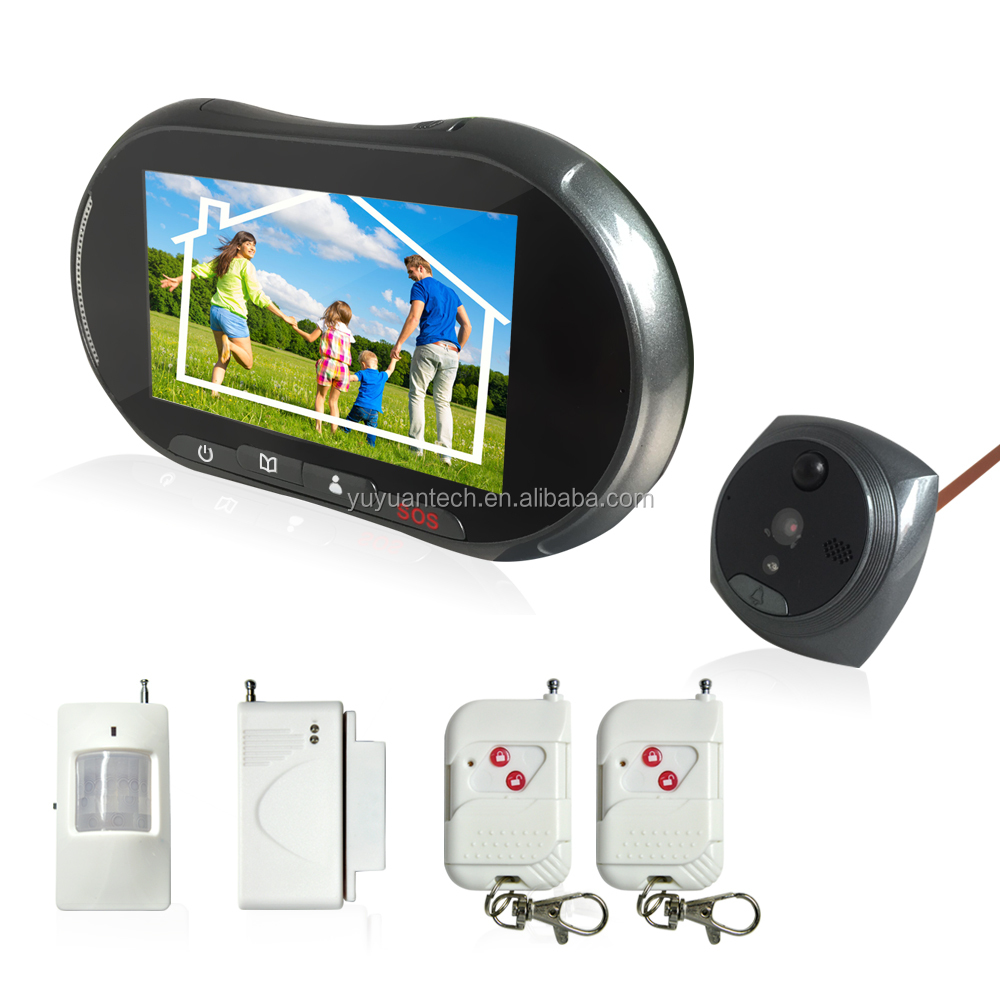 Network GSM Alarm Video Call Peephole Camera Wireless Door Viewer PIR Motion Sensor Monitor