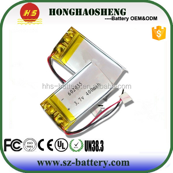 High quality 3.7v lithium-ion polymer battery 602035 3.7V 400mAh small capacity battery for Bluetooth earphone