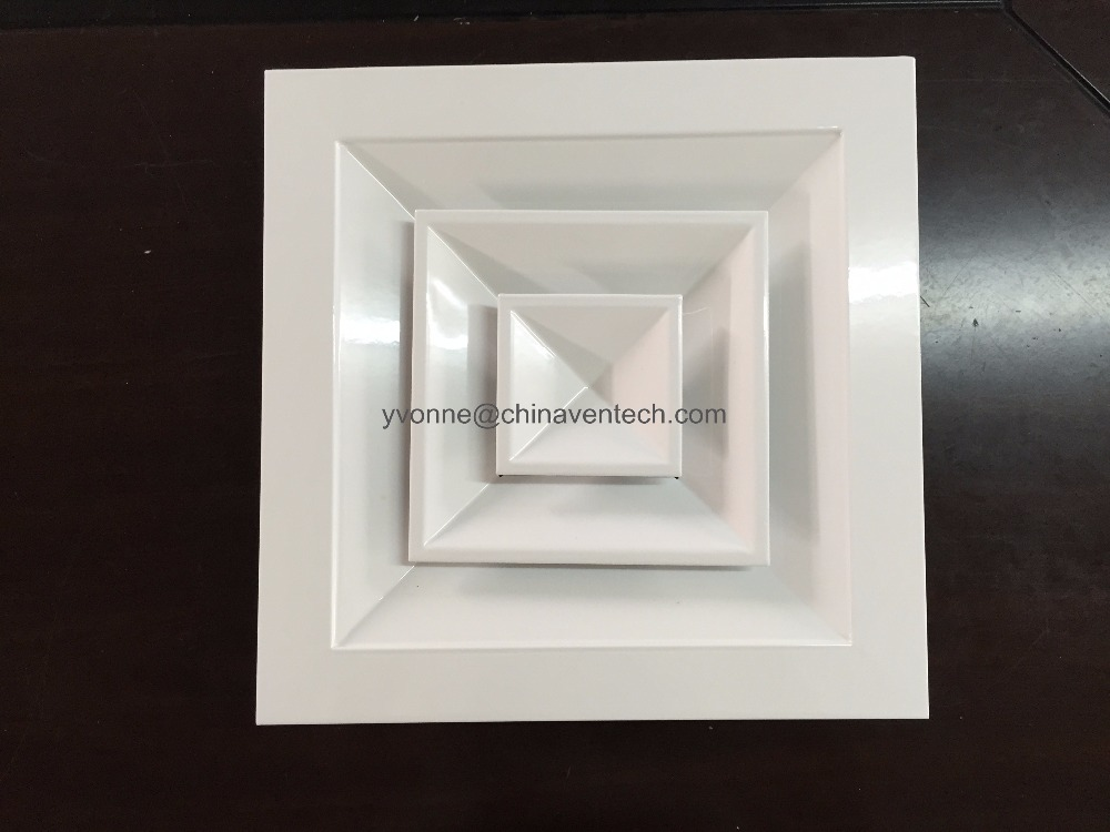 High quality Ventilation type aluminum 4-way Square Ceiling Diffuser air conditioning slot diffuser