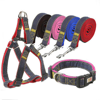 Denim 3 point dog leash, Jean walking safety Harness, pets accessories,in stock ,ready to ship