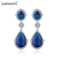 LUOTEEMI Wholesale Women Tops Fashion Jewelry 2015 New Brand Luxury Bridal Teardrop CZ Cryetsal Zircon Dangle Earrings