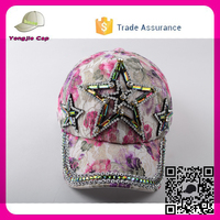 6 panel unstructured floral pattern Baseball Hats with stone OEM Custom canvas baseball cap removable logos