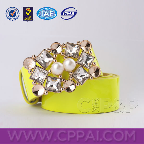 Pearl and Rhinestone decoration fluorescence color fashion leather belts