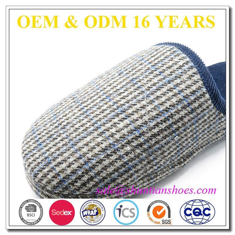 2016 high quality herringbone fabric corduroy trimming and lining mens winter house slipper