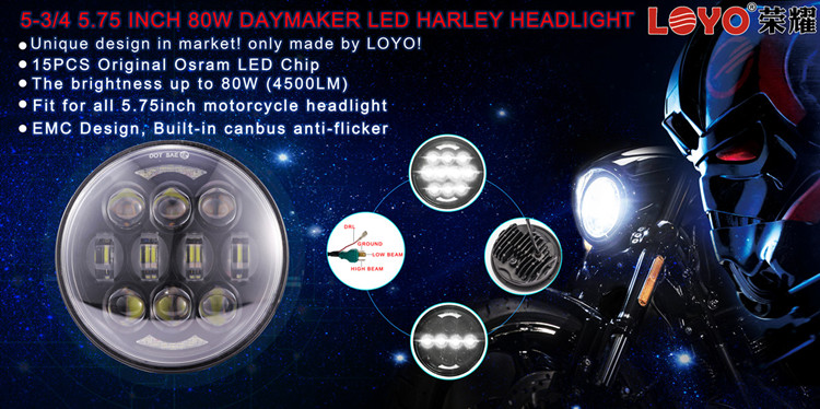 "Super Bright Motorcycle Accessories 5.75 Inch 5.75"" 80W LED Headlight with DRL for Harley daymaker led"
