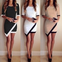 Walson WOMENS CELEBRITY SEXY BANDAGE SHORT SLEEVE BODYCON MINI PARTY DRESS SOCIAL ZT009535