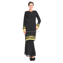 Fashion Design Baju Kurung Black Muslim Cloth with Yellow Lace