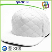 White Hat/Quilted Faux Leather Fabric/Quilted Leather Snapback Hats