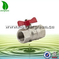 Mini mist brass ball valve with red butterfly handle