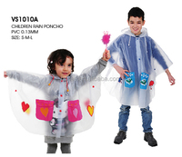 cheap transparent printed children PVC rain poncho for promotional