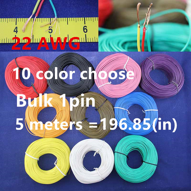 Bulk 1pin 5 metres super flexible 22AWG PVC insulated  Wire Electric cable, LED cable, DIY Connect 11 color choose