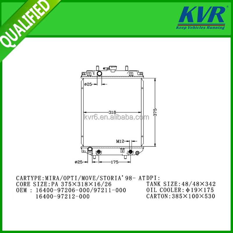 Water Cast Iron Radiator kvr FOR DAIHATSU MIRA/OPTI/MOVE/STORIA'98- OEM 16400-97206-000/97211-000 16400-97212-000