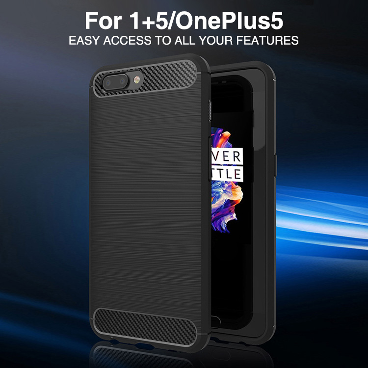 New products 2017 carbon fiber soft tpu shockproof back cover for one plus 5, Colorful tpu case for oneplus 5 mobie phone cover