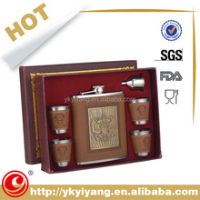stainless steel Hip Flask sets leather wrapped white wine brand names