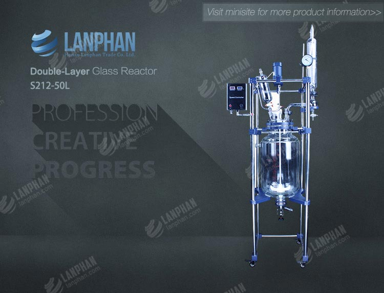 2018 good ptfe sealing 50l jacketed glass reactor for vacuum distillation