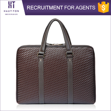Hautton Guangzhou Business Man Brown Laptop Briefcase Bags New Fashion Genuine Split Cow Leather Briefcases For Men