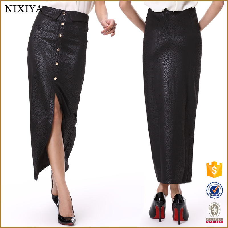 PU leather fabric long skirts and tops designs with front buttons