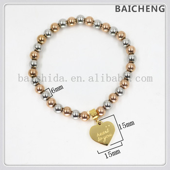 Glazed Stainless steel bead bracelet Heart to you jewelry bracelet Rose gold and silver beads bracelet