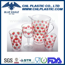 Food grade certified transparent plastic pitcher and tumbler set