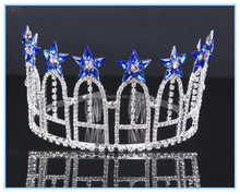 Unique blue star decration big bridal tiara rhinestone large pageant crown