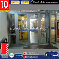 aluminum commercial glass entry swing door with double glazing, meet Australia strandard