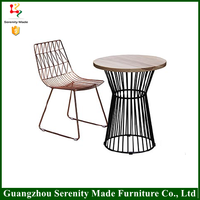 2016 new model steel wire mesh outdoor used restaurant dining table and chair
