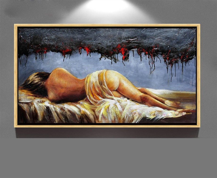 india nude art hot sell sex girl image hand painted modern canvas oil painting ZZ-1477