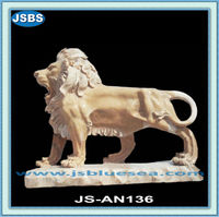 hand carved natural marble outdoor lion statue