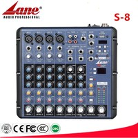 Lane high quality professional USB audio mini mixing console S-8