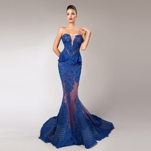 HTJ211 New Fashion Sexy Royal Blue Color Woman Party Gowns Sheer Tulle and Lace See Through Wholesale Evening Dress 2018