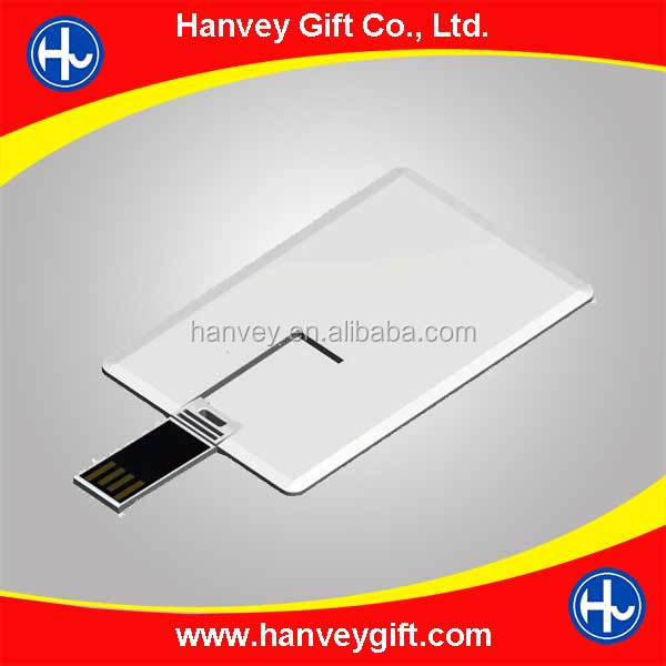 promotional super thin credit card usb flash drive blank for CMYK printing