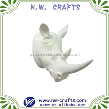 Polyresin white decorative wall animal Rhinoceros head