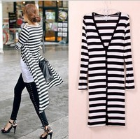 free size new products wholesale knitted long sleeve stripe design cardigan thin sweater designs for ladies