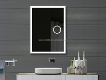 Hotel Backlit Smart Touch Screen Bathroom Mirror with LED,LAMXON fogless shower square bath shaving mirror