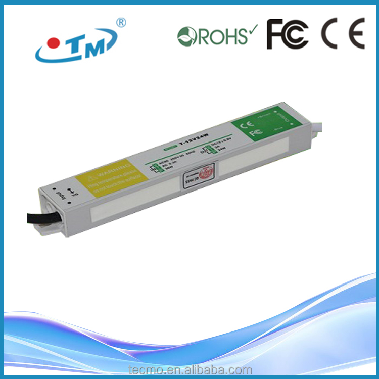 Waterproof dc power jack 24w 12v led driver with CE,FCC,Rohs free shipping