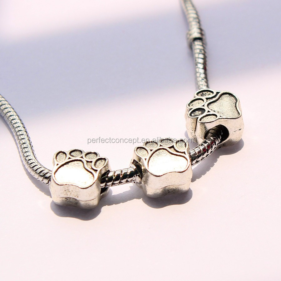 DIY Silver Beads with Big Holes Fits European Murano Glass Beads Charm Bracelet/Necklace PDR-62