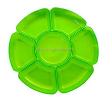 Single Unit Crystal Clear Hard Plastic 16-Inch Round 7-Section Serving Tray food containers
