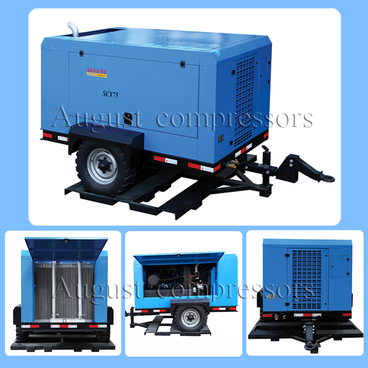 High Quality 93KW Portable Diesel Engine Air Screw Compressor