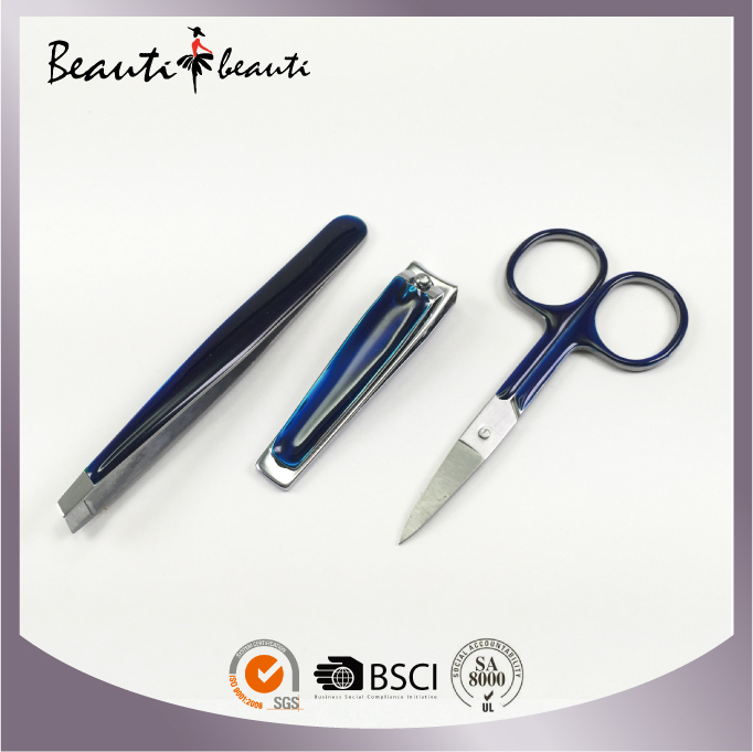 High Quality Stainless Steel Gelly Colour Nail Clipper/Scissors/Tweezers set by ISO & SA8000 Factory