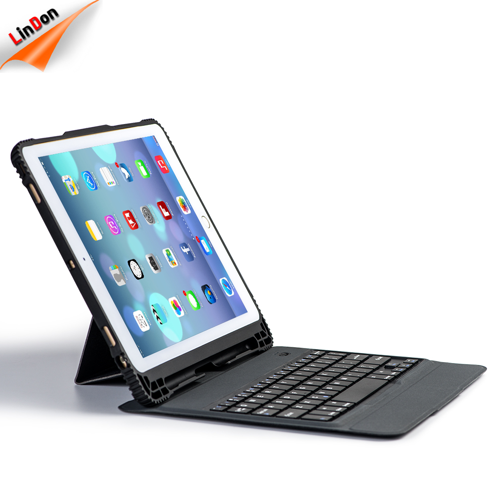 For iPad Pro 9.7 Bluetooth Keyboard Case Portable Wireless Keyboard with Pencil Holder Detachable Quiet Keyboard