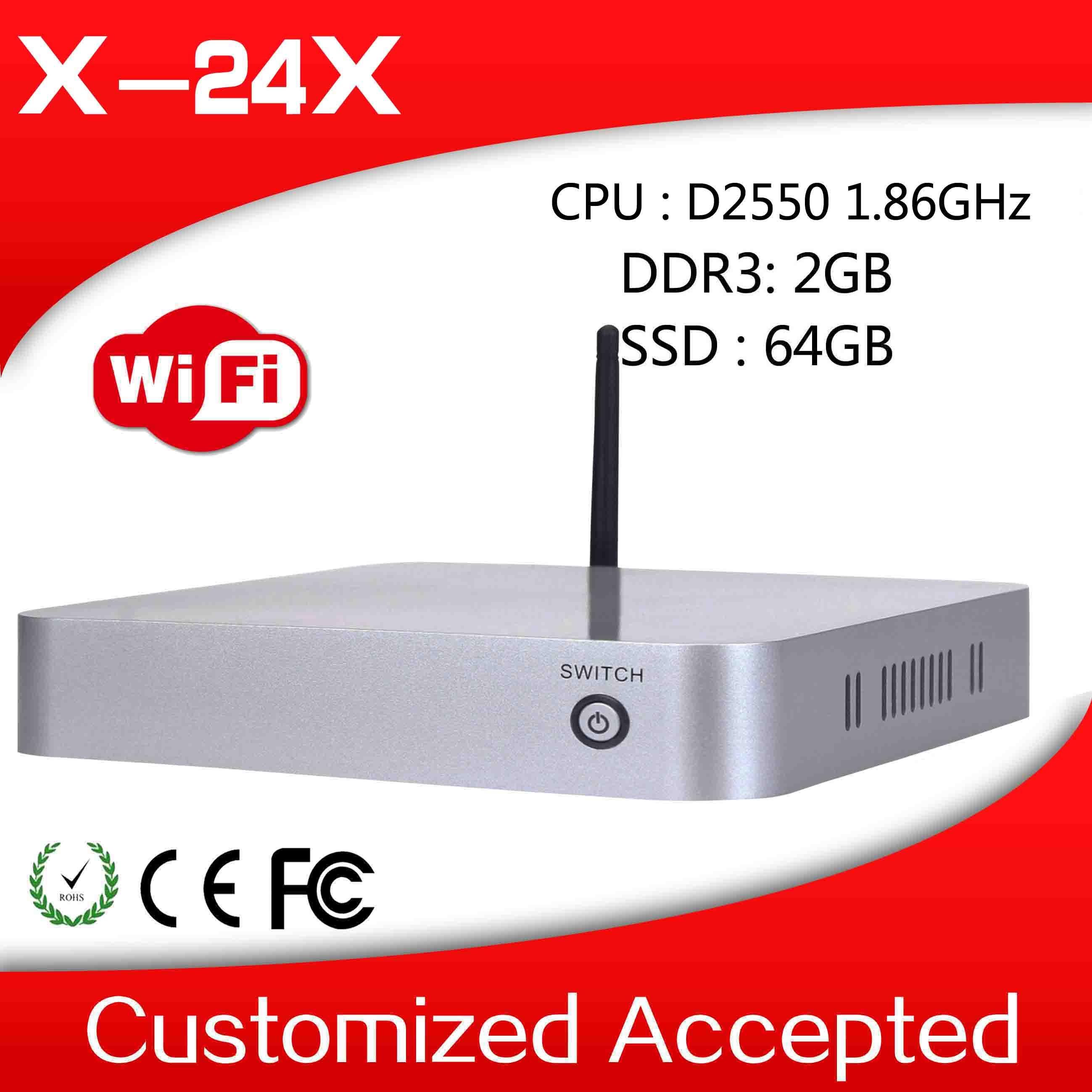 Ultra-low-power XCY mini pc x-24x AtomD2500 dual core thin client fan embedded 1.86Ghz win tablet pc 2g ram 64g ssd
