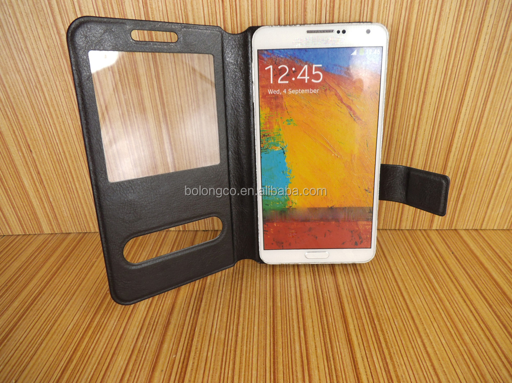 S window universal leather phone case for Samsung galaxy note 3 4 with high quality stand flip phone bag