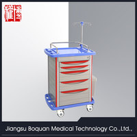 multi-function five drawers plastic-steel columns with IV stand ABS clinic trolley