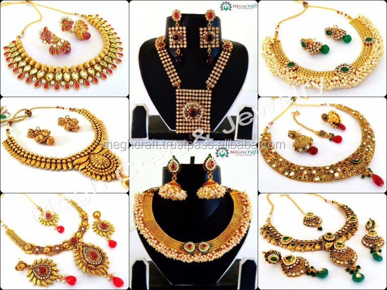Wholesale pearl jewellery - Designer kundan necklace set - Indian one gram gold plated jewellery - Bollywood fashion jewelry