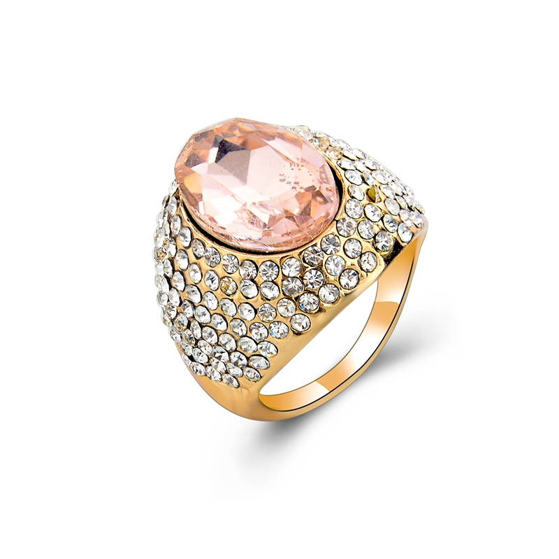 Big pink crystal with small white crystal index finger ring cute rings