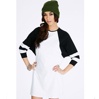 Casual 3/4 length sleeves t-shirt dress plus size