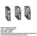 Automatic pedestrian access control system waist high 304 stainless steel flap turnstile gate with RFID
