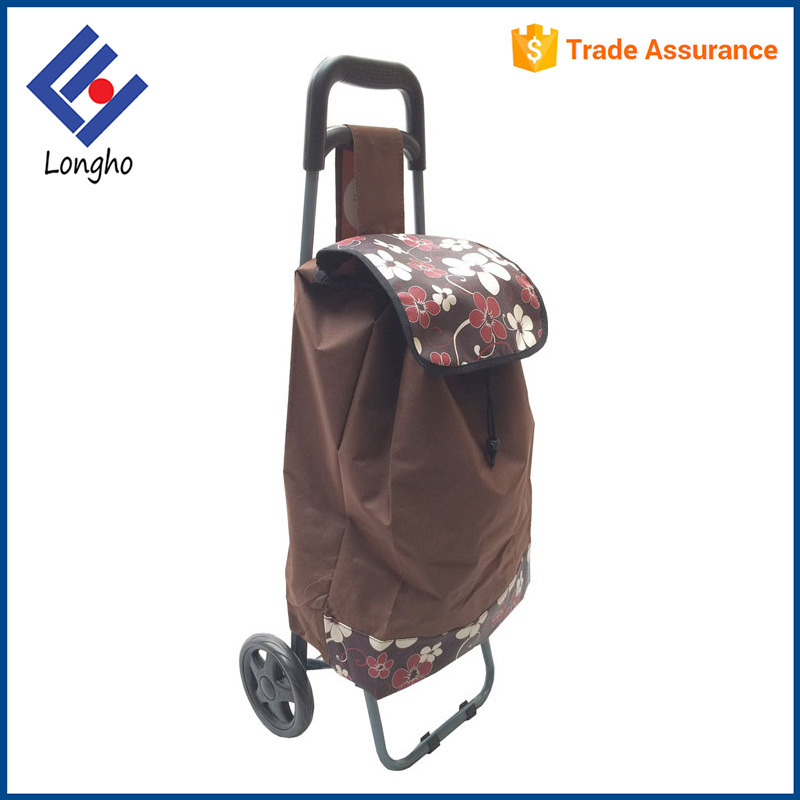Bungee cord supermarket shopping trolley bag drawstring open shopping bag with trolley